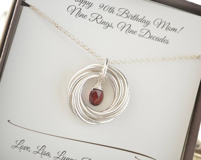 90th Birthday gift for mom and grandma, 9 Interlocking rings, 9th Anniversary gift for women, January birthstone necklace, Garnet birthstone