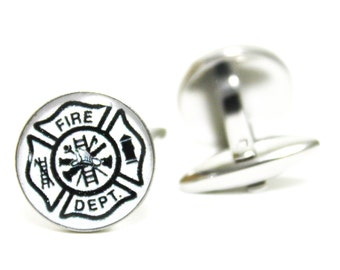 Fire Department Cufflinks | personalized gift cuff links mens accessories everyday gifts men dad fireman firemen fathers day