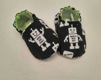Baby Shoes - Robots (baby shoes, baby mocs, baby booties, baby shower gift)