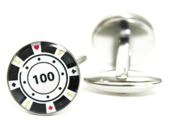 100 High Stakes Poker Chip Cufflinks | personalized gift cuff links mens accessories las vegas gifts poker men gambler card game cards