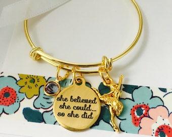 Dancer Bracelet, Gold Ballet Bracelet, Personalized Childrens Jewelry, Ballerina Bracelet,  Personalized Name Bracelet, Little Girls
