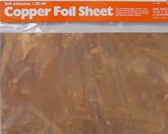 1 SHEET of Real COPPER Foil 12 x 12 inch - Adhesive Backed for making Nuggets or Bubble jewelry pendants. Cut's easily.