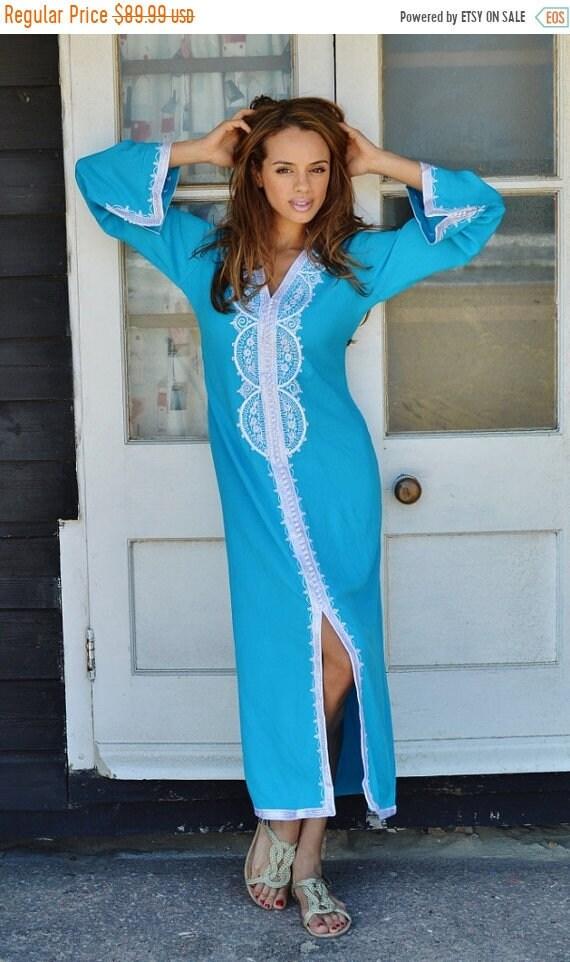 Kaftan Sale 20% Off/ SPRING TREND | Turquoise Blue Caftan Kaftan Maxi Dress -Lella -loungewear, resortwear,spa robe, Wedding, Birthdays or M