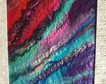 Abstract woolpainting felted painting decoration