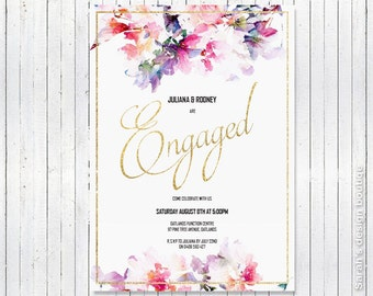 Custom designed Engagement Invite supplied as a digital pdf file - A5 OR A6 size