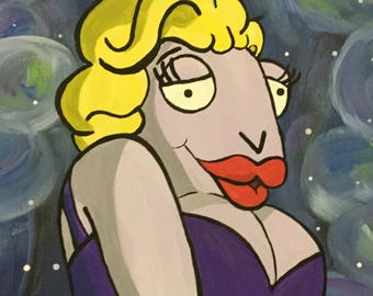 Marilyn the Manitee acrylic painting