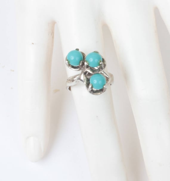Modernist Simulated Turquoise Sterling Ring Mexico Mexican Vintage Approximately Size 6 3/4