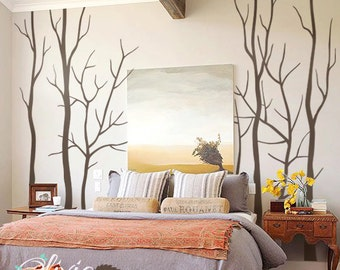 Set of Large Winter Tree vinyl wall decals  -NT034