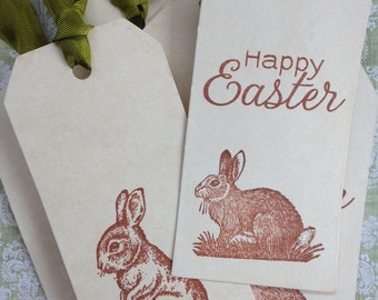 Coffee Stained Bunny Tags/Rustic Style Easter Bunny Tags/Stained Easter Hang Tags/Happy Easter Gift Tags/Coffee Stained Tags/Set of 6