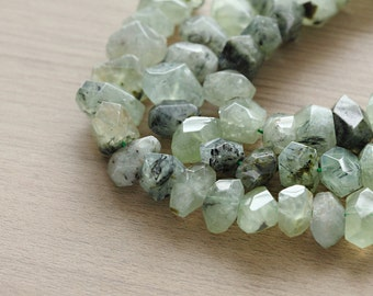10 pcs of Natural Prehnite Faceted Nugget Gemstone Beads