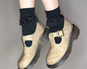 90s taupe leather doc marten mary janes size 6 uk 8 us