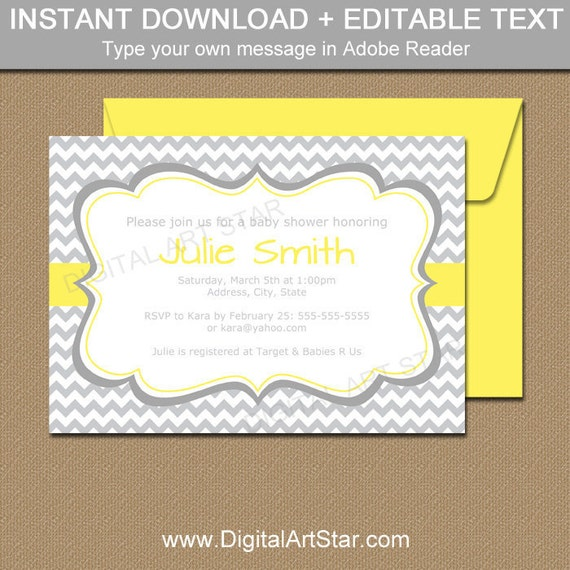 Gender neutral baby shower invitation template yellow and gender neutral baby shower invitation template yellow and gray baby shower invitations bridal shower invitation printable party decor bb1 filmwisefo Choice Image