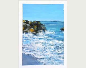 Ocean Rocks Painting Art Oil Original // 5.5 × 8 on Paper