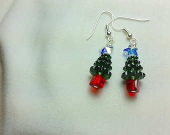 Christmas Tree, Crystal Star Dangle Earrings, Christmas Earrings, Christmas Jewelry