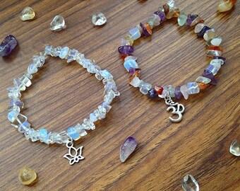 Handmade Stretchy Gemstone Charm Bracelets