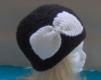 WOMAN black hat with big white bow