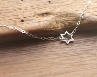 PERFECT HANUKKAH GIFT - Jerusalem Dainty .925 Sterling Silver Star of David Pendant on Sterling Silver Chain Necklace -