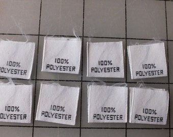 Woven Garment Content Label 100 Percent Polyester