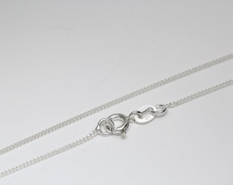 Sterling Silver 925 flat Curb Chain Necklace 1.21 mm with Spring Clasp