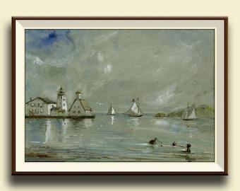 PRINT-Lighthouse sail ship painting watercolor, seascape   - Art Print by Juan Bosco