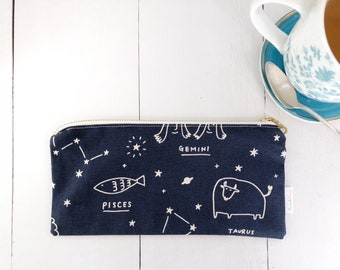 Pencil Pouch | Gift for Astrology Lover | Make-up Bag | Accessories Case | Travel Pouch | Gift for Gemini | Gift for Taurus | Zipper Pouch