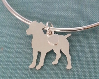 Jack Russell Terrier Dog Bangle Bracelet, Sterling Silver Personalize Pendant, Breed Silhouette Charm, Rescue Shelter, Mothers Day Gift