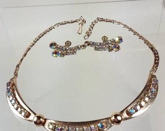 Vintage 1970s  Choker Style Necklace & Earrings Set.