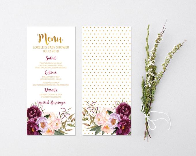 Burgundy Floral Menu // Wedding Menu //Bridal Menu // Baby Shower Menu // Gold // Printed or Instant Download // FLORENCE COLLECTION