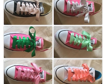 Satin ribbon shoe laces