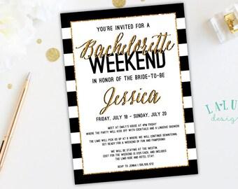 Bachelorette Party Invitation, Bachelorette Weekend, Glitter Bachelorette Invitation, Hens Party Invitation, Black and White Stripe