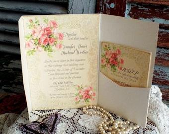 Romantic Vintage Roses and Lace Pocketfold Wedding Invitation Handmade by avintageobsession on etsy