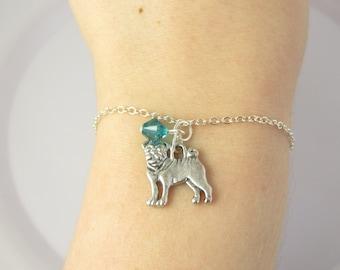 Pug Bracelet- choose a birthstone, Pug Jewelry, Pug Birthstone, Dog Jewelry, Pug Dog, Pug Gift, Pug Charm Bracelet, Dog Bracelet, Pug