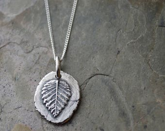 Elm Leaf Necklace, Forest Jewelry, Woodland Pendant, Sterling Silver, Artisan Jewelry, Tree Leaf, Minimalist, Bohemian Style, Rustic, Nature
