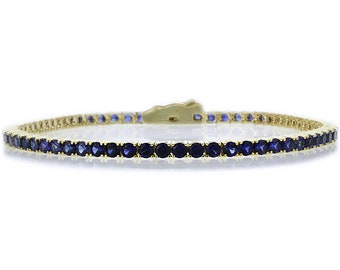 2.5mm 14K Yellow Gold 3.6 ct Simulated Sapphire Cubic CZ Tennis Bracelet 7.25in(CLB013RD25YG-BS)
