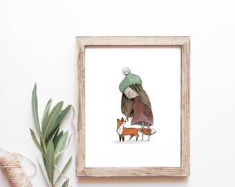 My Little Red Friend - Unframed FINE ART PRINT, Nature, Fox, Woodland, Forest, Outdoors, Nursery, Wall Decor, Home Decor, Animal