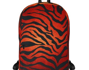 Fire Tiger Zebra Flaming Cheetos neon orange red Backpack