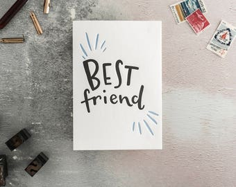 Best Friend Letterpress Card - Suitable for Valentines or Birthday