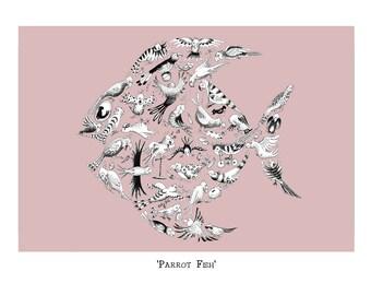 Parrot Fish.  Signed, giclée print.