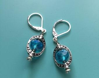 Silver Earrings/ Dangle Earrings/ Turquoise Earrings/ Vintage Earrings/ Art Deco Earrings/ Boho Earrings/ Beach Earrings/ Marcasite Earrings