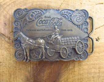 Vintage Coca Cola Belt Buckle No 1 - Horse and Cart Coca Cola Brass Belt Buckle - Bergamot Brass Works - Bottle Opener Belt Buckle
