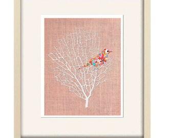 bird print, abstract art, nursery wall art, girl nursery decor, baby girl nursery, bird decor, pink art print, home decor, abstract wall art