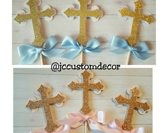 Boy Girl Cross Centerpiece-Cross Centerpiece-Baptism Cross Centerpiece-First Communion Cross Centerpiece-Cross Baptism-Set of 3