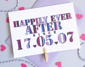 Happily Ever After Card – Personalised Date Wedding Card – Card for Husband – wedding card for husband wife  – wedding card for newlyweds