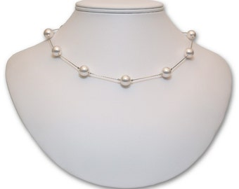 Pearl Sterling Silver 8mm Tin Cup Necklace
