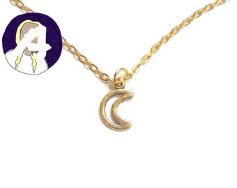 delicate gold choker - simple gold choker - thin gold chain - crescent moon choker - gold thin choker necklace - crescent moon gifts
