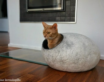 Cat bed cave, house, Handmade from natural felted wool. KIVIKIS -  Color  Snow Grey