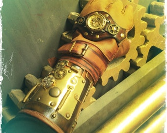 Deluxe SteamPunk Glove with Mechanical Watch - Steampunk Bracer - Mechanical Watch Glove  - Steampunk Bracer - Steampunk (SPG050DLX)