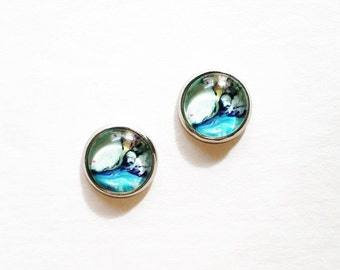 HYPOALLERGENIC Glass Cab Earrings 10mm MEDIUM (Surgical Stainless Steel) - Tide Pool