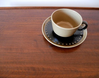 1960s Modernist Cup & Saucer - Franciscan Discovery Tahiti coffee/tea cup with plate - vintage dinnerware