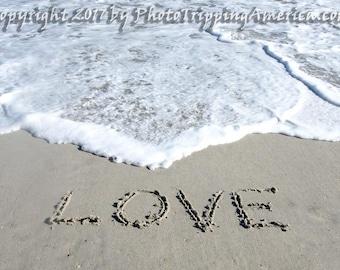 Wall Art, Photo, Canvas Art, Beach, Love, Vacation, Metallic Paper, Photograph, Love Written in the Sand, Surf, Waves, Holiday, Written Word